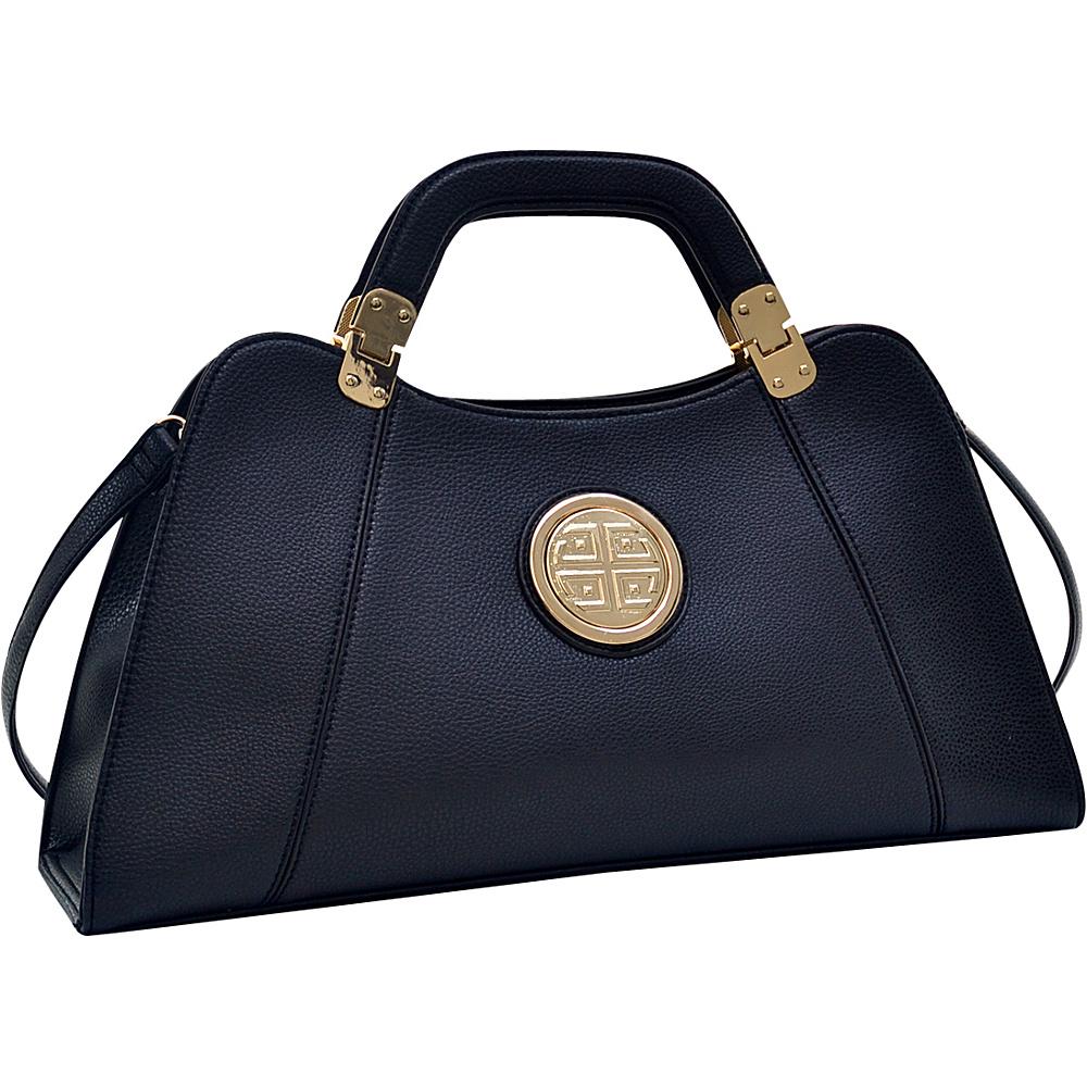 Dasein Emblem Metal Hinge Satchel with Removable Shoulder Strap Black - Dasein Manmade Handbags - Handbags, Manmade Handbags