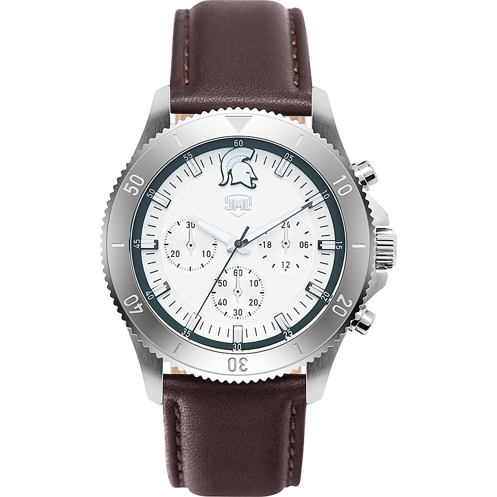 Jack Mason League Mens NCAA Chronograph Leather Strap Watch Michigan State - Jack Mason League Watches - Fashion Accessories, Watches
