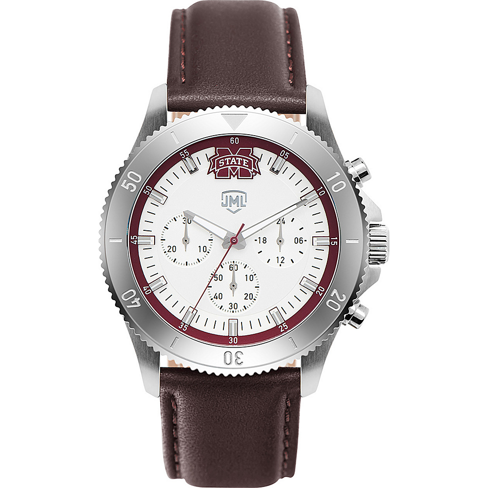 Jack Mason League Mens NCAA Chronograph Leather Strap Watch Mississippi State - Jack Mason League Watches - Fashion Accessories, Watches