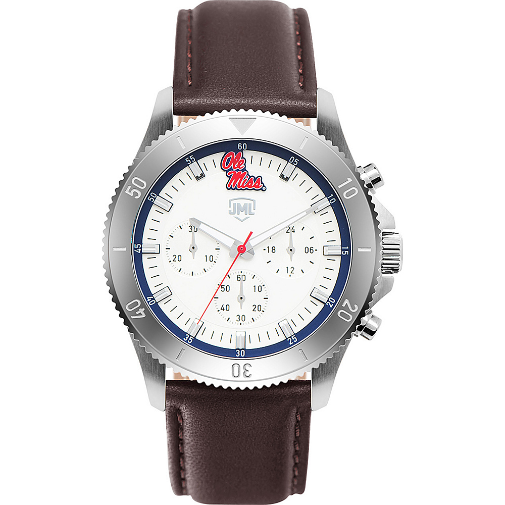 Jack Mason League Mens NCAA Chronograph Leather Strap Watch Ole Miss - Jack Mason League Watches - Fashion Accessories, Watches