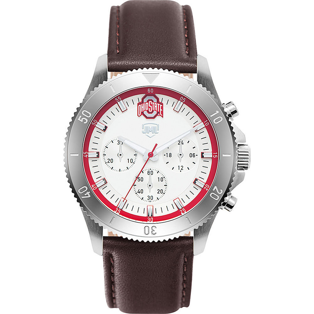 Jack Mason League Mens NCAA Chronograph Leather Strap Watch Ohio State - Jack Mason League Watches - Fashion Accessories, Watches