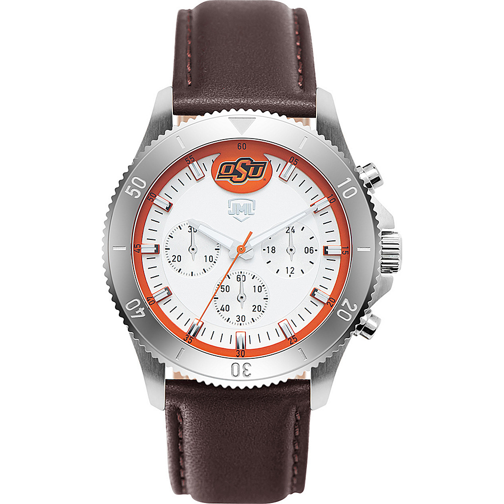 Jack Mason League Mens NCAA Chronograph Leather Strap Watch Oklahoma State - Jack Mason League Watches - Fashion Accessories, Watches