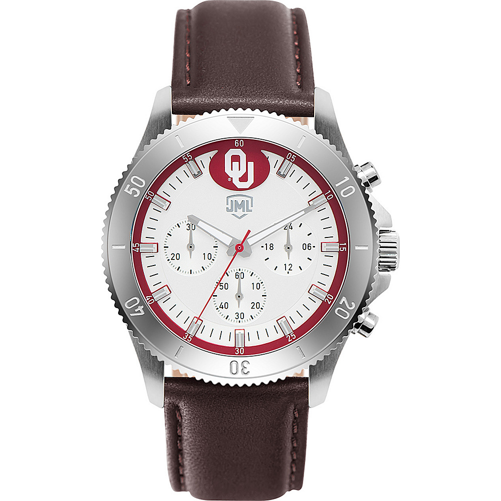 Jack Mason League Mens NCAA Chronograph Leather Strap Watch Oklahoma - Jack Mason League Watches - Fashion Accessories, Watches