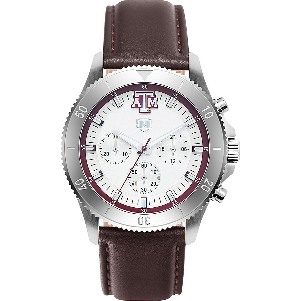 Jack Mason League Mens NCAA Chronograph Leather Strap Watch Texas A&M - Jack Mason League Watches - Fashion Accessories, Watches
