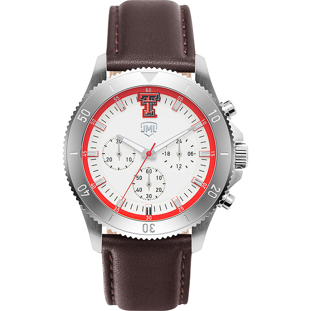 Jack Mason League Mens NCAA Chronograph Leather Strap Watch Texas Tech - Jack Mason League Watches - Fashion Accessories, Watches