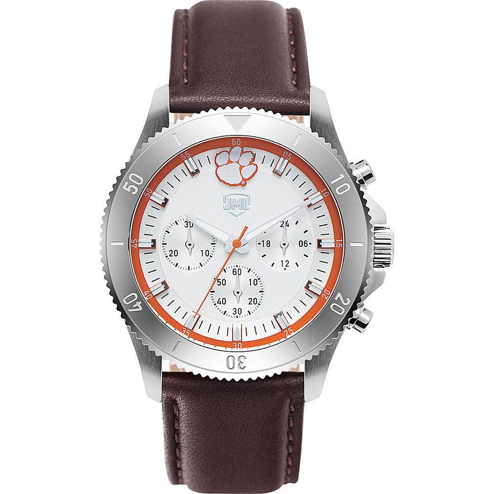 Jack Mason League Mens NCAA Chronograph Leather Strap Watch Clemson - Jack Mason League Watches - Fashion Accessories, Watches