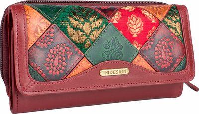 Hidesign Baga RFID Blocking Trifold Leather Wallet Red - Hidesign Designer Handbags