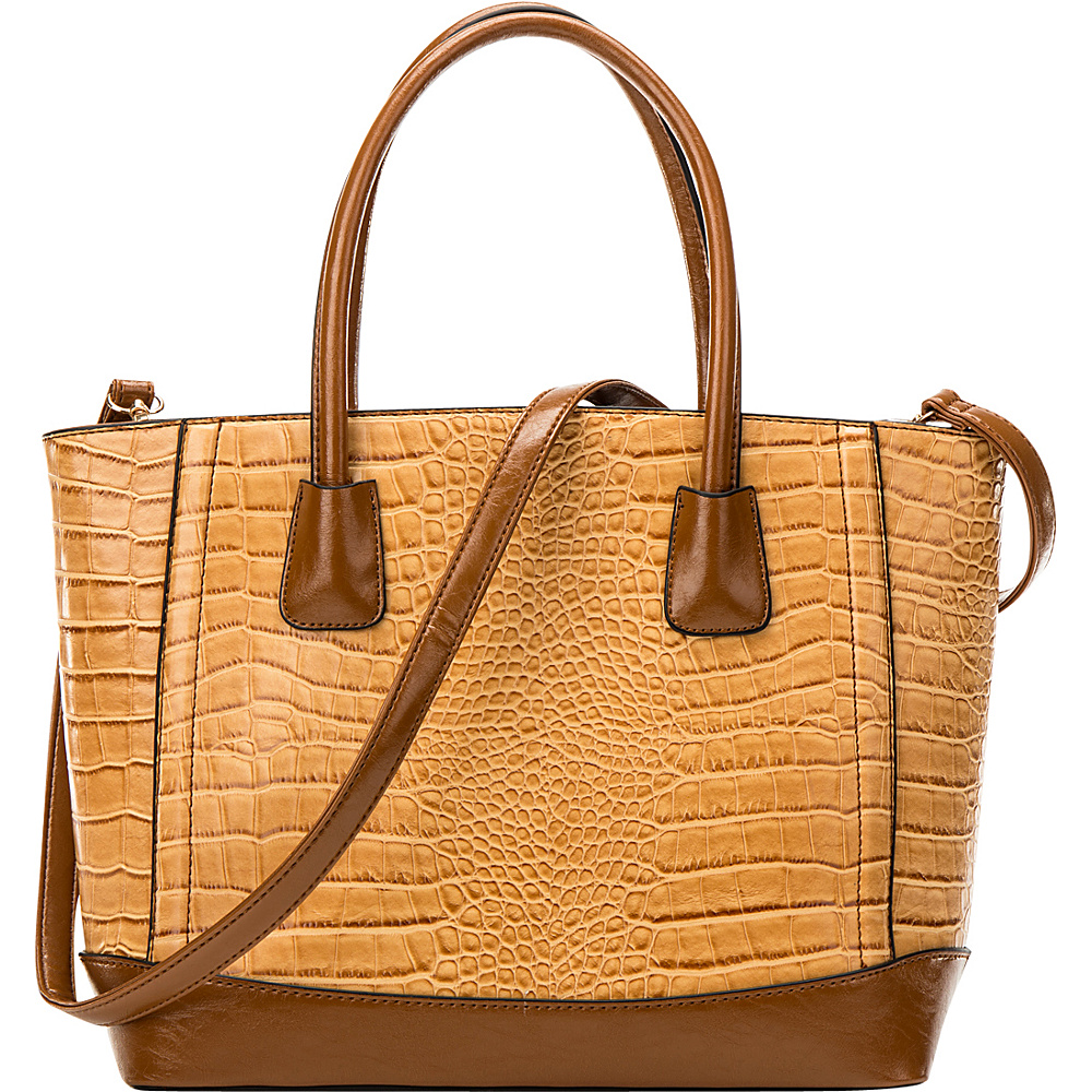 Dasein Classic Croc Textured Tote with Removable Shoulder Strap Tan - Dasein Manmade Handbags - Handbags, Manmade Handbags