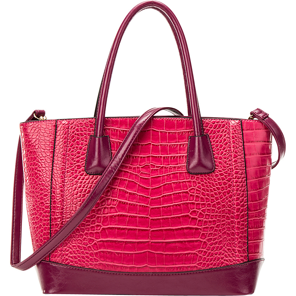 Dasein Classic Croc Textured Tote with Removable Shoulder Strap Pink - Dasein Manmade Handbags - Handbags, Manmade Handbags