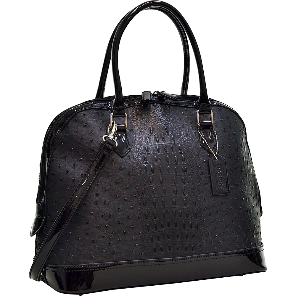 Dasein Ostrich Faux Leather Dome Satchel with Patent Trim Black - Dasein Manmade Handbags - Handbags, Manmade Handbags