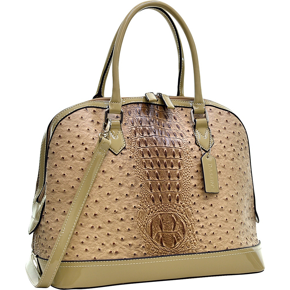 Dasein Ostrich Faux Leather Dome Satchel with Patent Trim Tan - Dasein Manmade Handbags - Handbags, Manmade Handbags