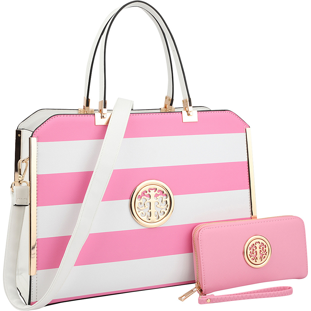 Dasein Striped Faux Leather Briefcase Satchel with Matching Wallet Pink/White - Dasein Manmade Handbags - Handbags, Manmade Handbags