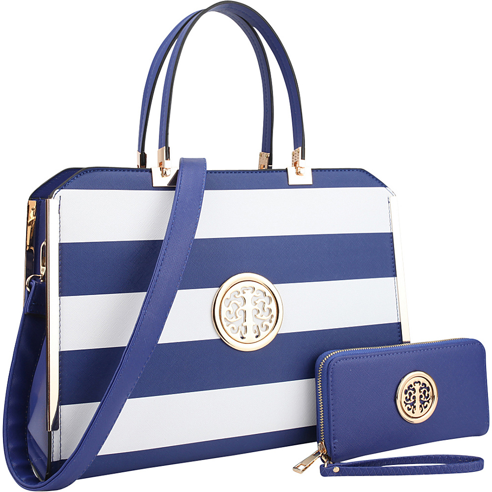 Dasein Striped Faux Leather Briefcase Satchel with Matching Wallet Blue/White - Dasein Manmade Handbags - Handbags, Manmade Handbags