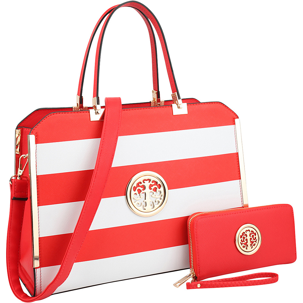 Dasein Striped Faux Leather Briefcase Satchel with Matching Wallet Red/White - Dasein Manmade Handbags - Handbags, Manmade Handbags