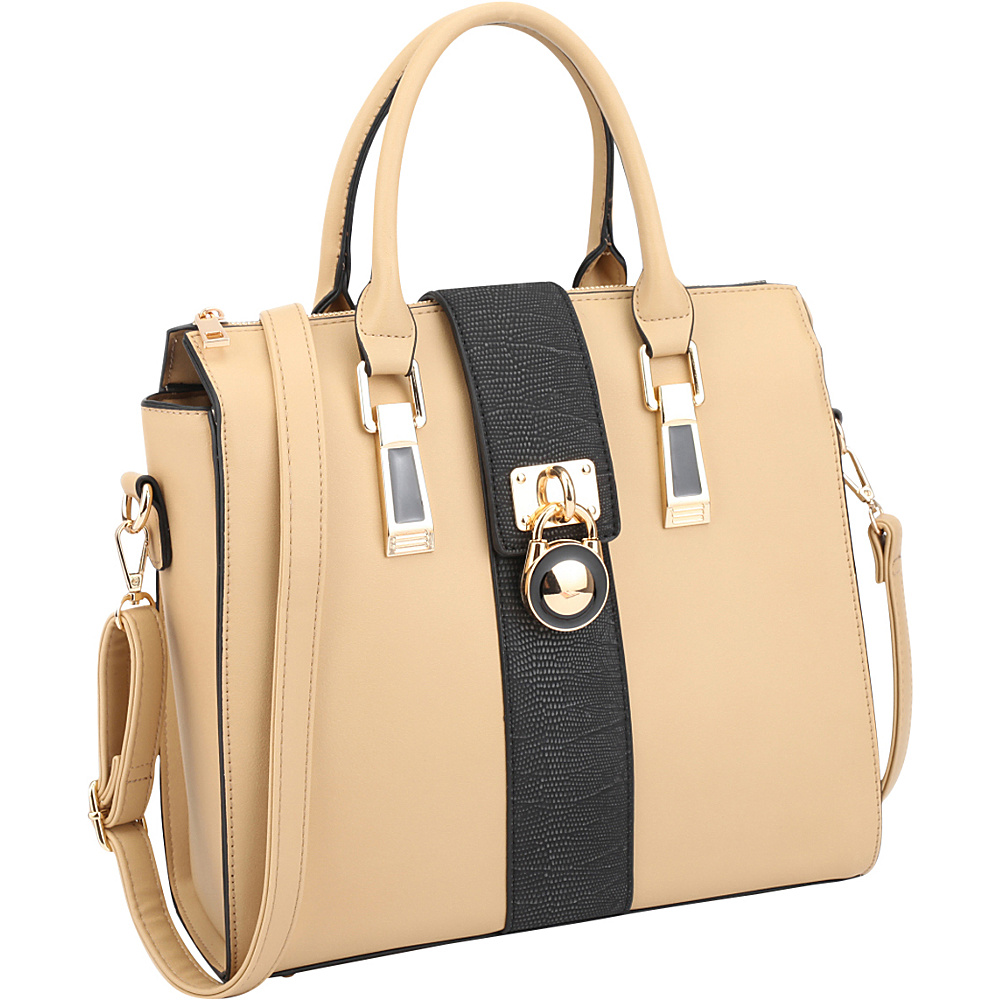 Dasein Two-Tone Faux Leather Medium Satchel with Lock Deco Beige - Dasein Manmade Handbags - Handbags, Manmade Handbags
