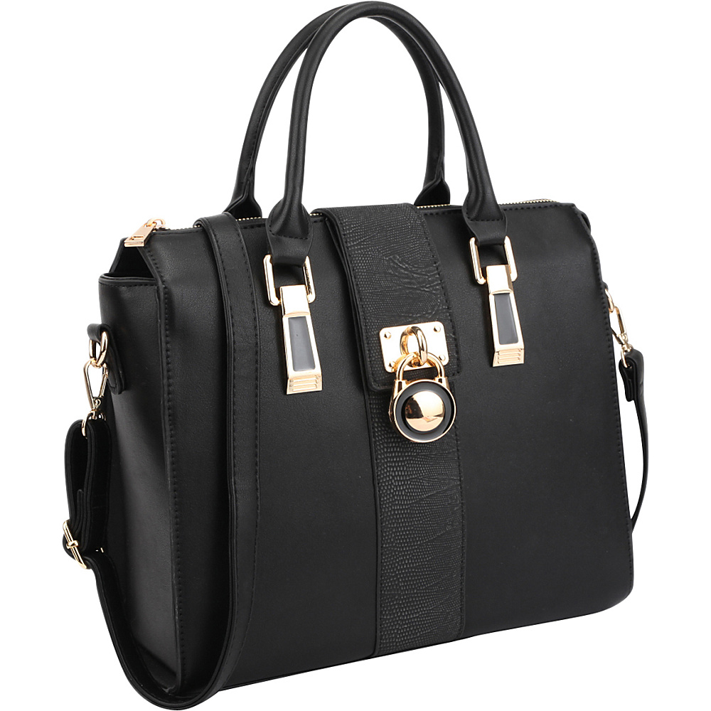 Dasein Two-Tone Faux Leather Medium Satchel with Lock Deco Black - Dasein Manmade Handbags - Handbags, Manmade Handbags