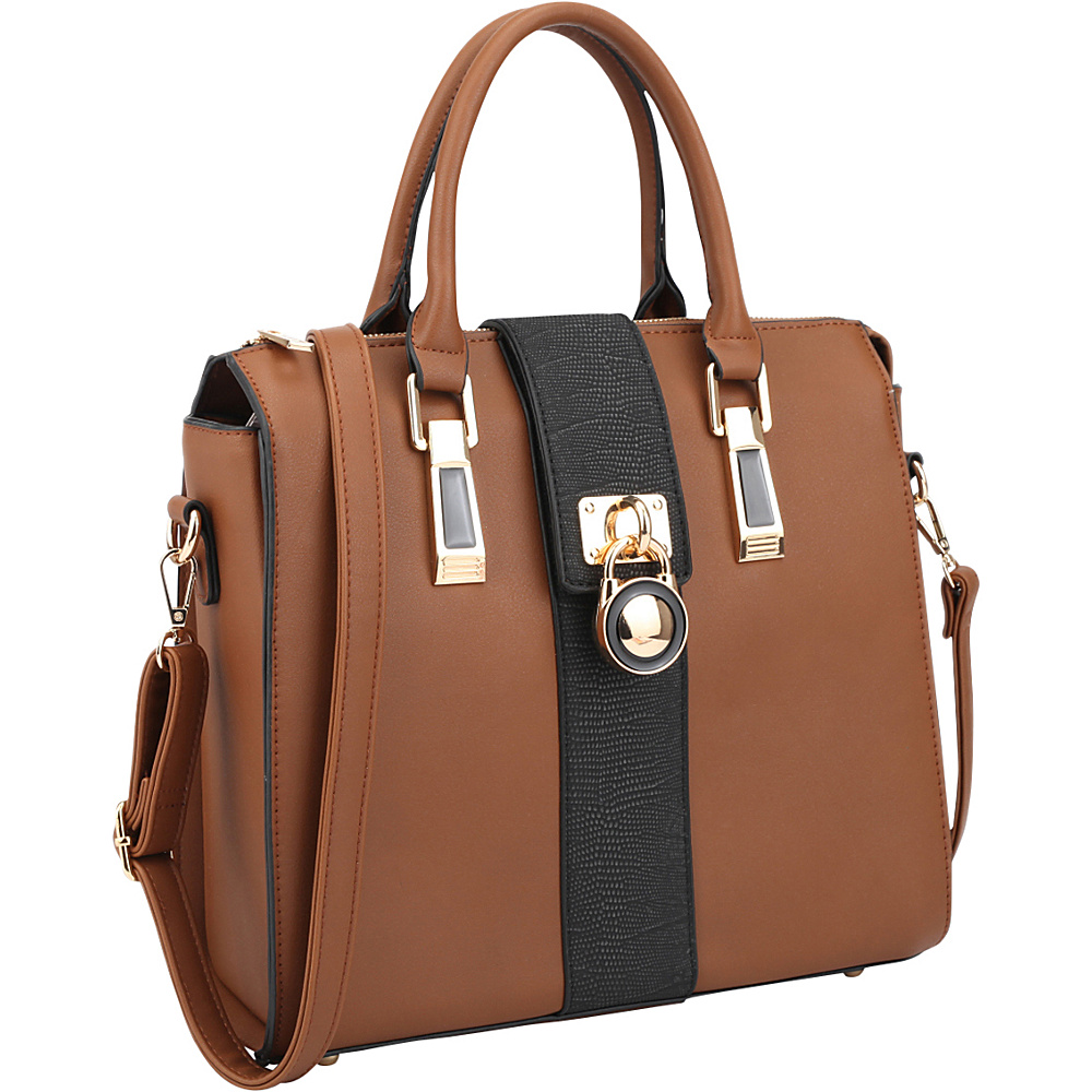 Dasein Two-Tone Faux Leather Medium Satchel with Lock Deco Brown - Dasein Manmade Handbags - Handbags, Manmade Handbags