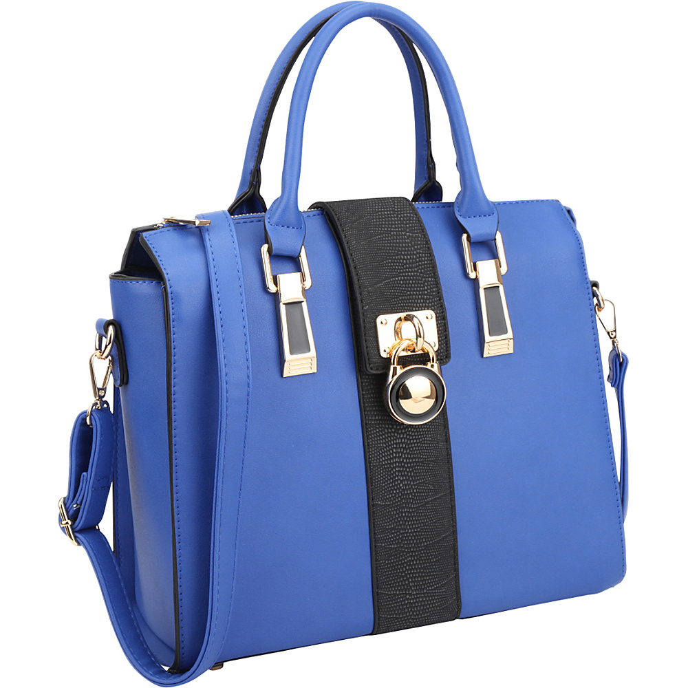 Dasein Two-Tone Faux Leather Medium Satchel with Lock Deco Blue - Dasein Manmade Handbags - Handbags, Manmade Handbags