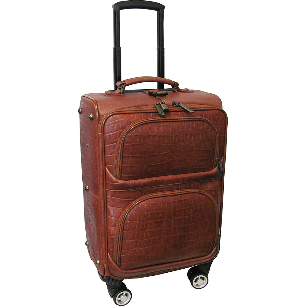AmeriLeather Croco-Print 18.5 Spinner Carry-On Luggage Brown Croco-Print - AmeriLeather Softside Carry-On - Luggage, Softside Carry-On