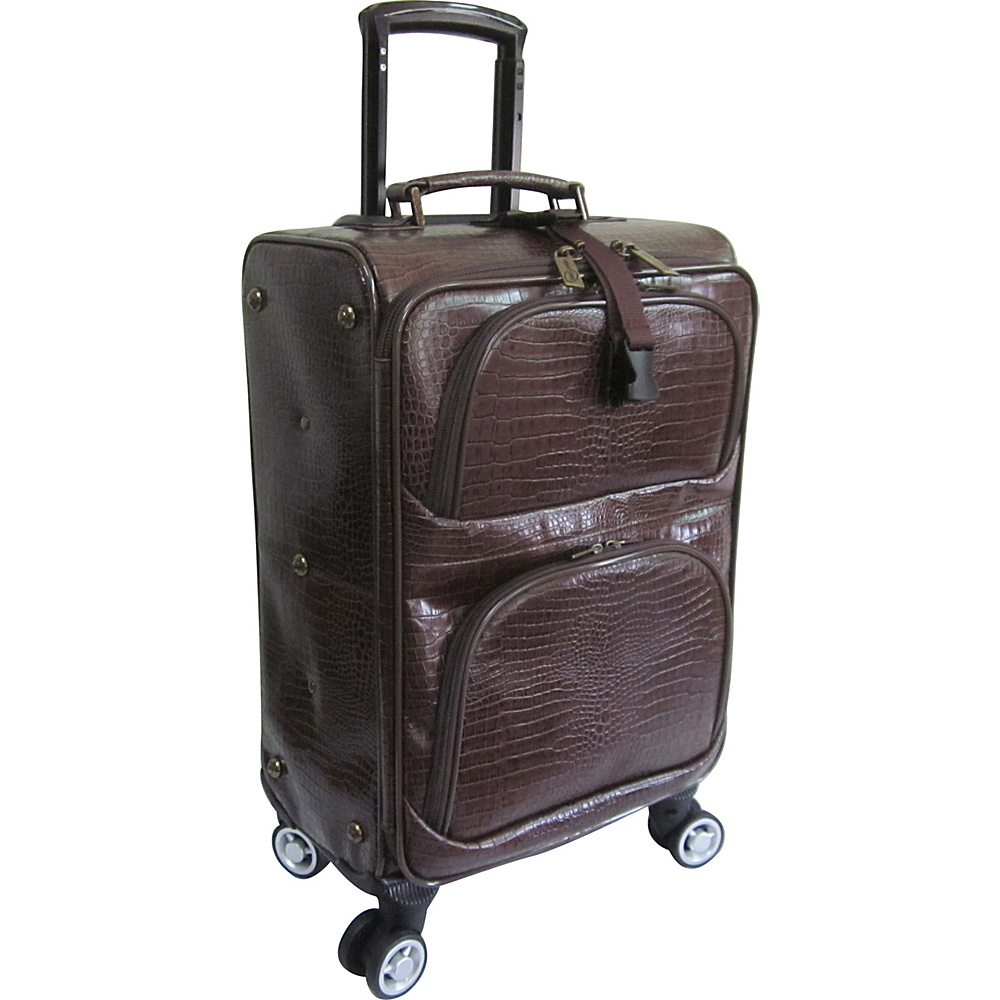 AmeriLeather Croco-Print 18.5 Spinner Carry-On Luggage Dark Brown Croco-Print - AmeriLeather Softside Carry-On - Luggage, Softside Carry-On