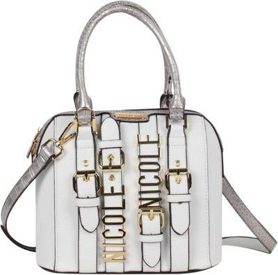 Nicole Lee Hilliard Belt Embellish Mini Dome Shoulder Bag White - Nicole Lee Manmade Handbags