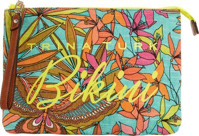 Trina Turk Bikini Papillion Palm Wristlet Turquoise - Trina Turk Fabric Handbags