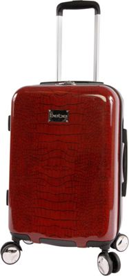 BEBE Taylor 21 inch Hardside Spinner Carry-On Luggage Burgundy Croc - BEBE Hardside Checked