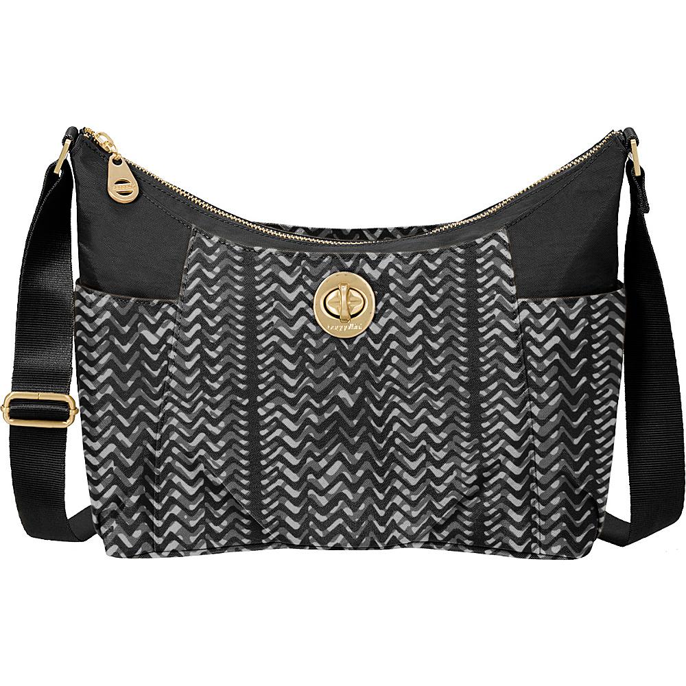 baggallini Bahia Hobo Black/White Illusion Print - baggallini Fabric Handbags - Handbags, Fabric Handbags