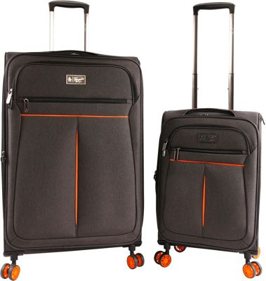 Original Penguin Luggage Original Penguin Luggage Colfax 2 Piece Expandable Spinner Luggage Set Black Crosshatch/Orange - Original Penguin Luggage Luggage Sets