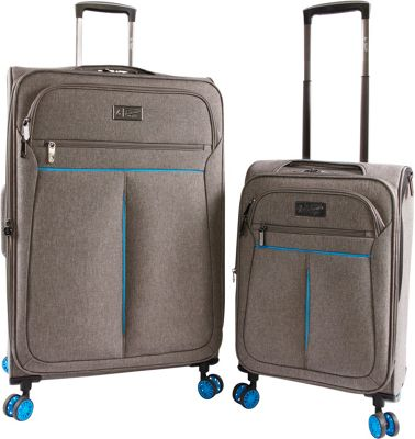 Original Penguin Luggage Colfax 2 Piece Expandable Spinner Luggage Set Grey Crosshatch/Blue - Original Penguin Luggage Luggage Sets