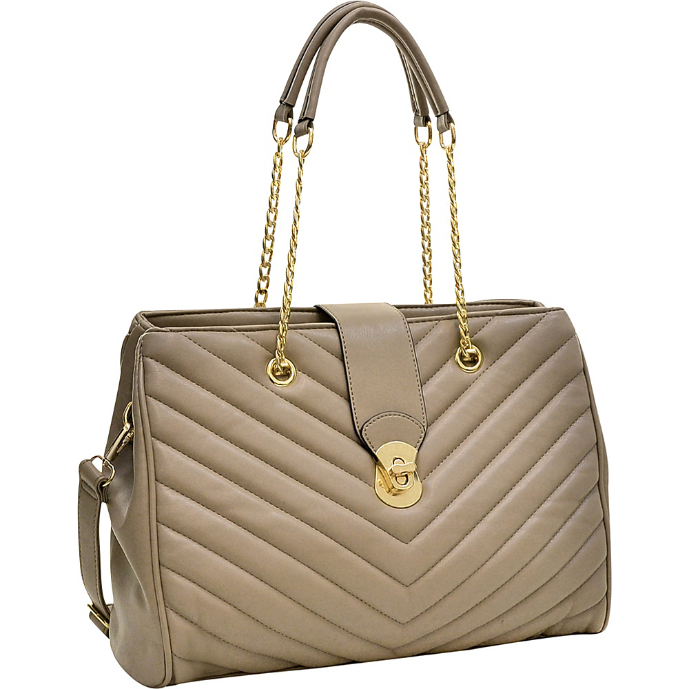 Dasein Faux Leather Chevron Quilted Satchel Taupe - Dasein Gym Bags - Sports, Gym Bags