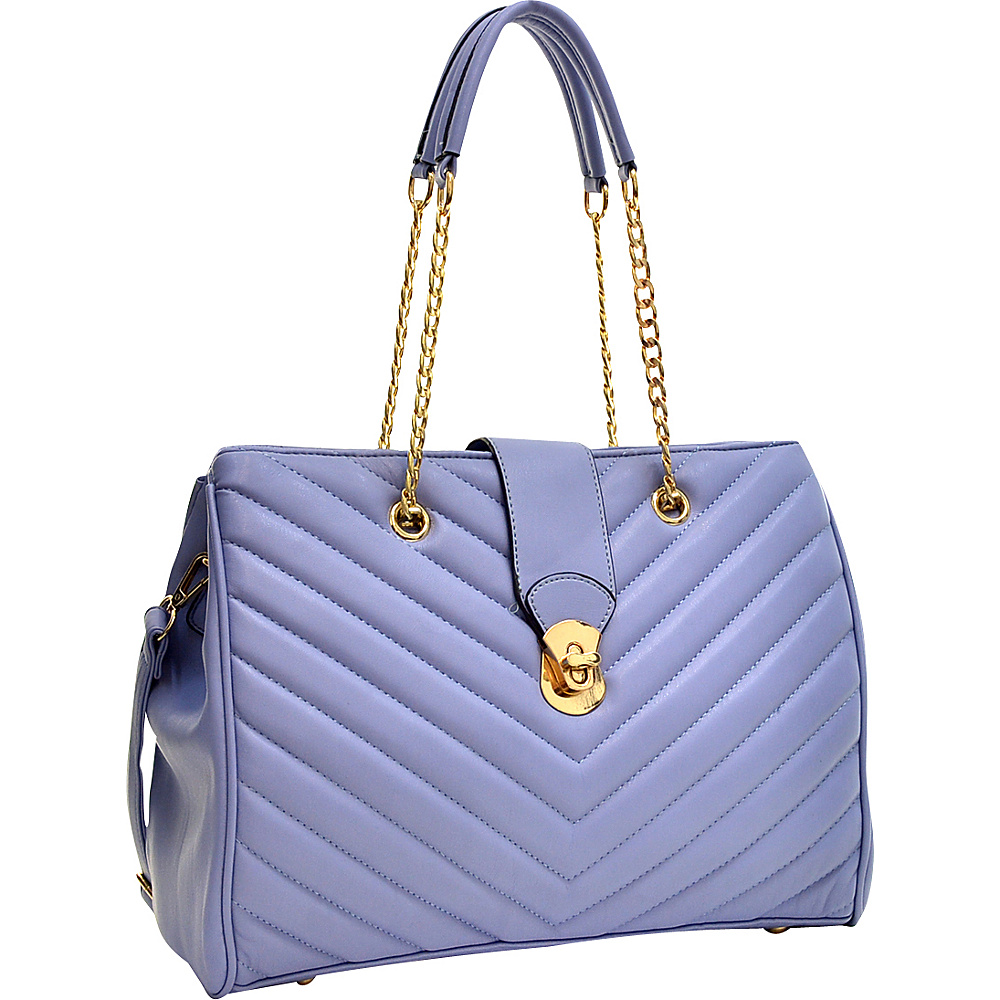 Dasein Faux Leather Chevron Quilted Satchel Blue - Dasein Gym Bags - Sports, Gym Bags