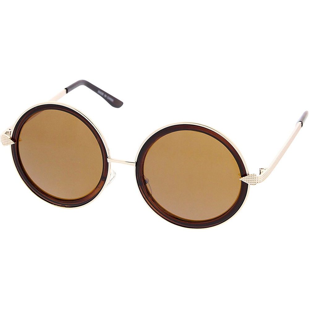 SW Global Womens Retro Fashion Round Thick Frame Sunglasses Brown - SW Global Eyewear - Fashion Accessories, Eyewear