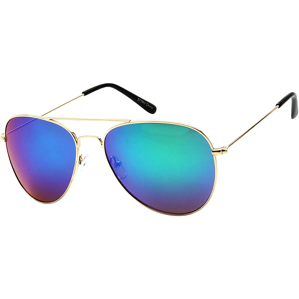 SW Global Classic Unisex Gold Aviator Sunglasses Blue - SW Global Eyewear - Fashion Accessories, Eyewear