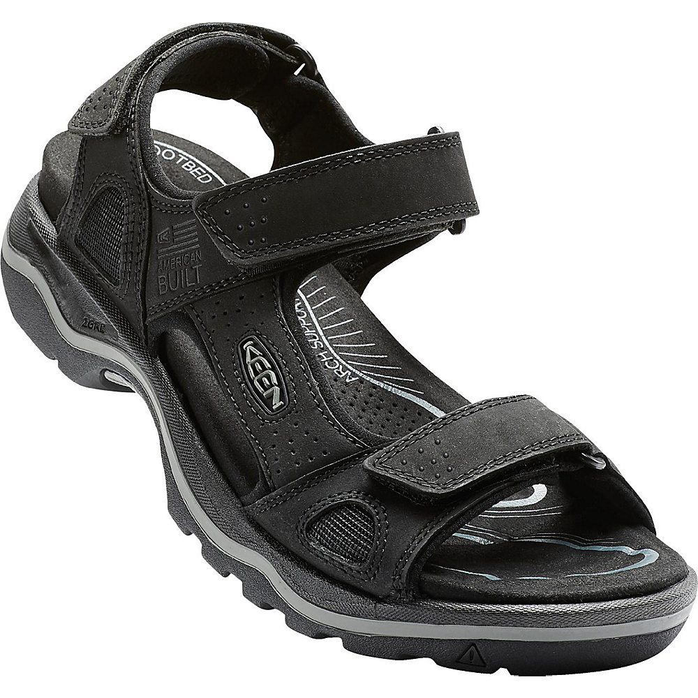 KEEN Mens Rialto 3 Point Sandal 7 - Black/Neutral Gray - KEEN Mens Footwear - Apparel & Footwear, Men's Footwear
