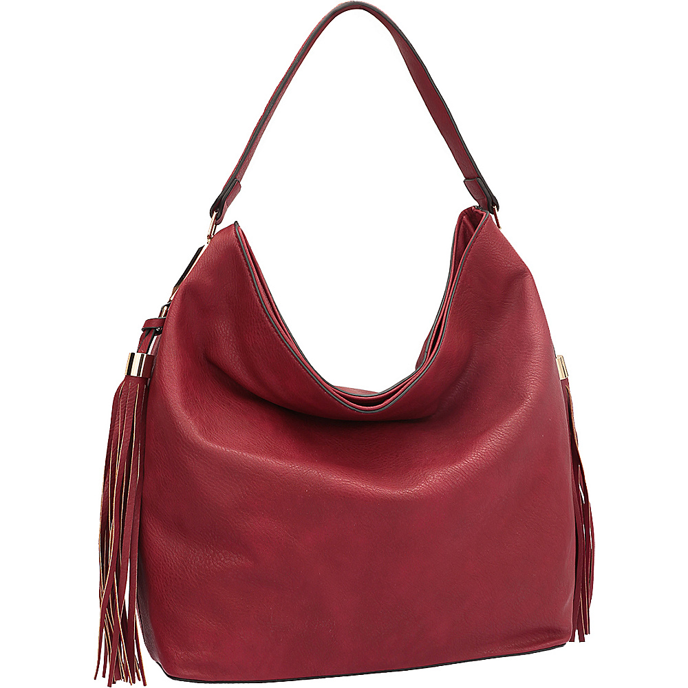 Dasein Fringe Studded Faux Leather Hobo Red - Dasein Manmade Handbags - Handbags, Manmade Handbags