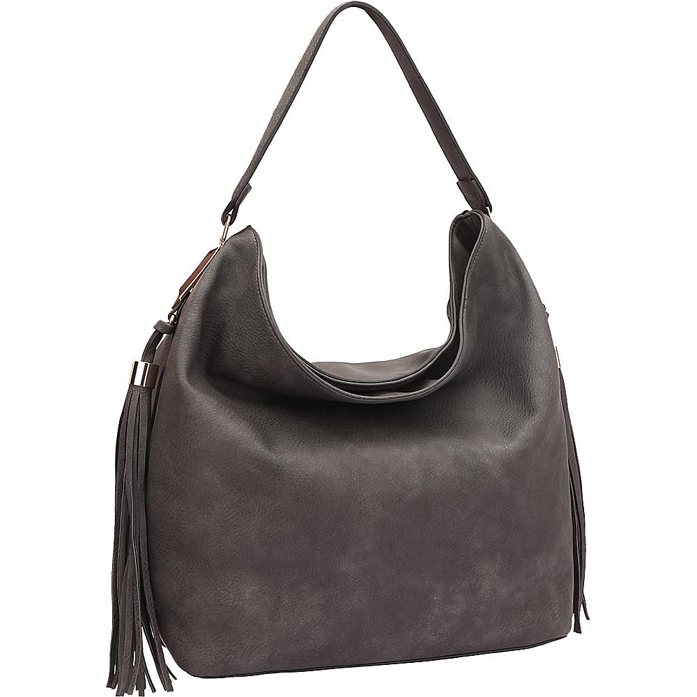 Dasein Fringe Studded Faux Leather Hobo Grey - Dasein Manmade Handbags - Handbags, Manmade Handbags