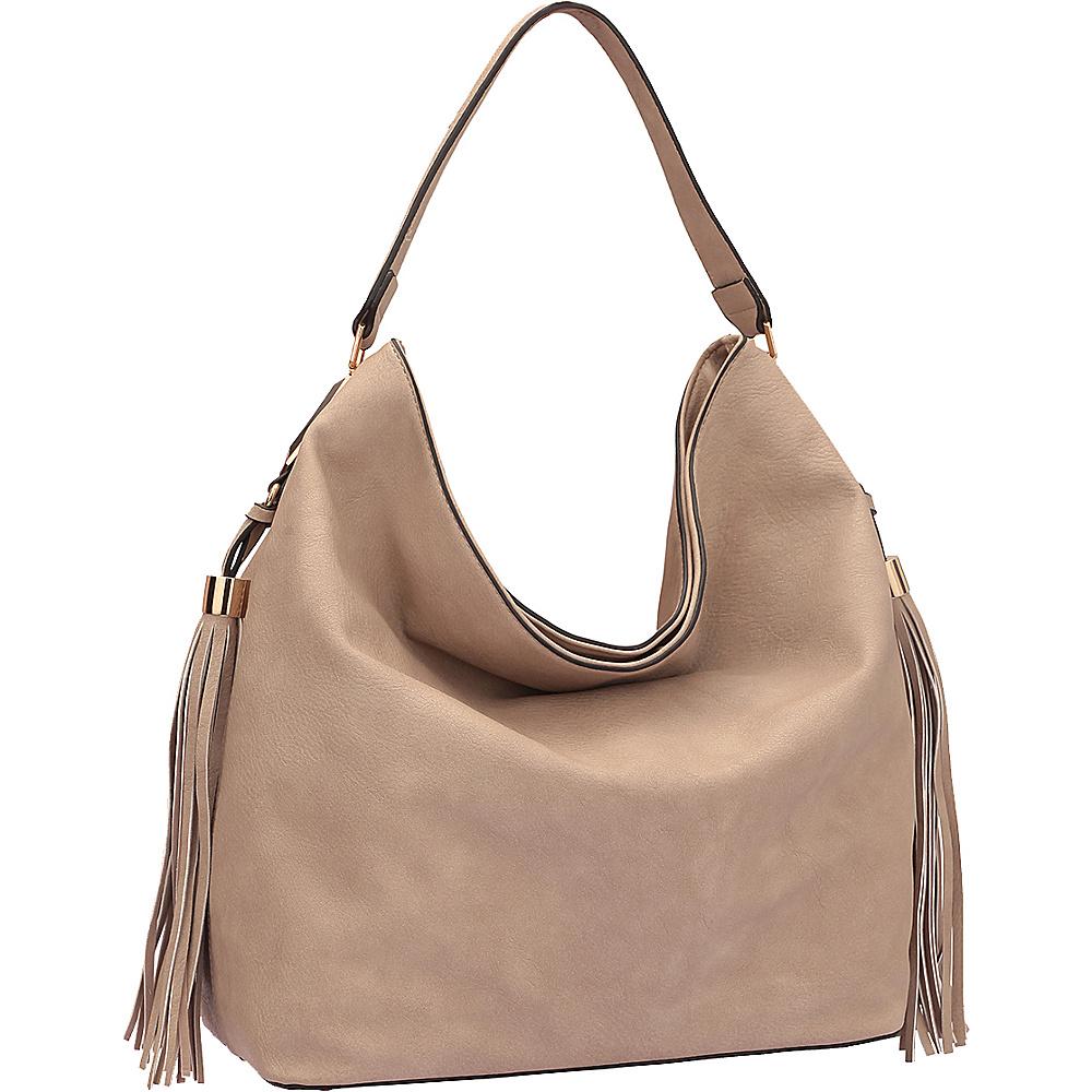 Dasein Fringe Studded Faux Leather Hobo Stone - Dasein Manmade Handbags - Handbags, Manmade Handbags