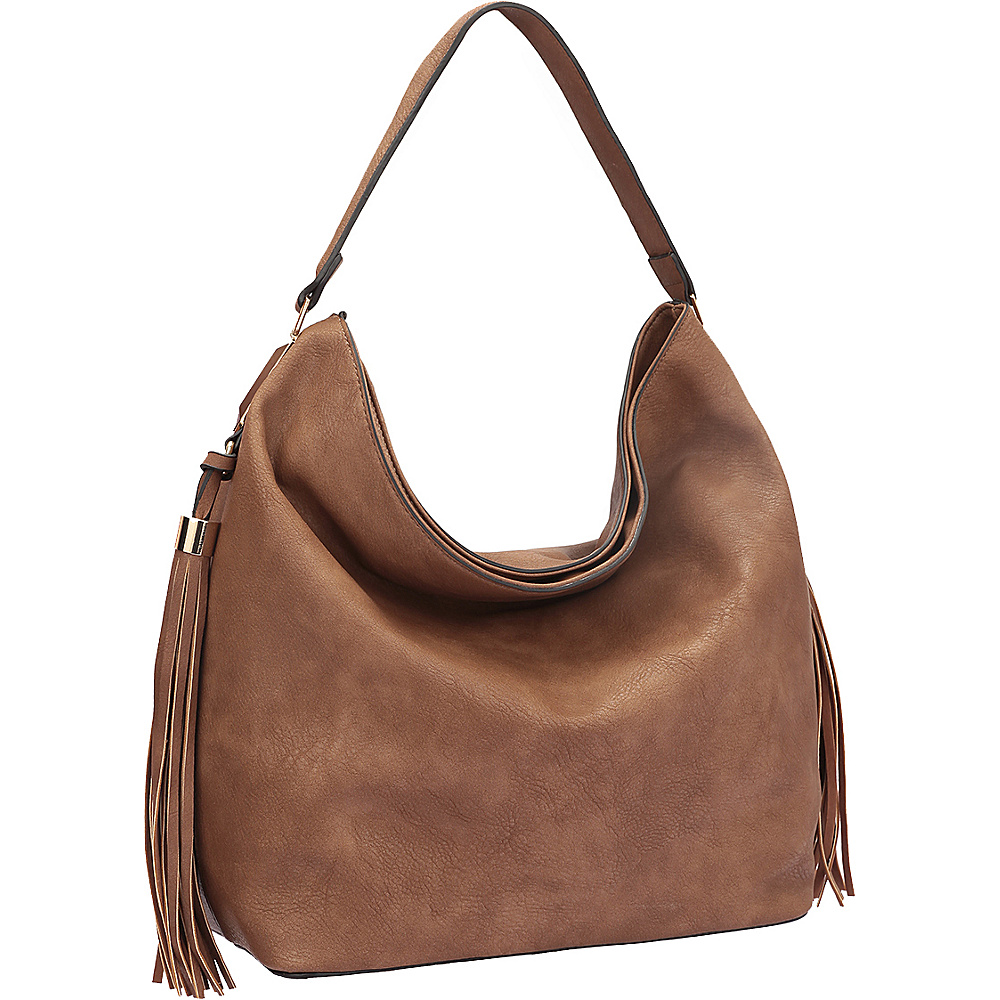 Dasein Fringe Studded Faux Leather Hobo Brown - Dasein Manmade Handbags - Handbags, Manmade Handbags