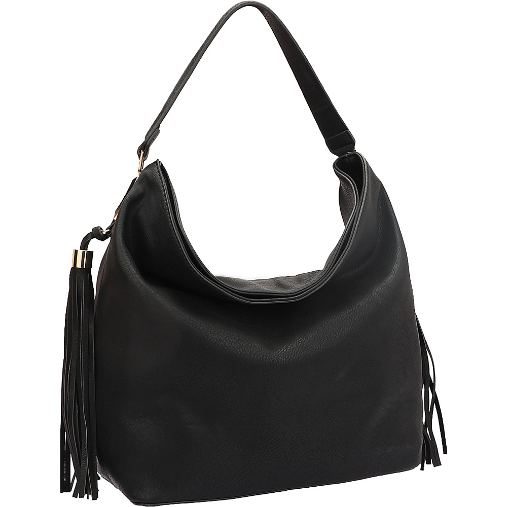 Dasein Fringe Studded Faux Leather Hobo Black - Dasein Manmade Handbags - Handbags, Manmade Handbags