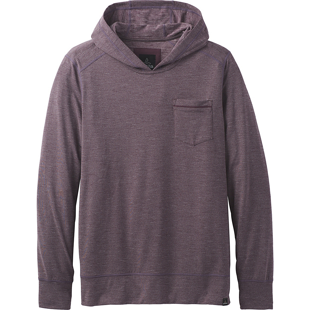 PrAna Pacer Long Sleeve Pullover Hoodie L - Dark Plum - PrAna Mens Apparel - Apparel & Footwear, Men's Apparel
