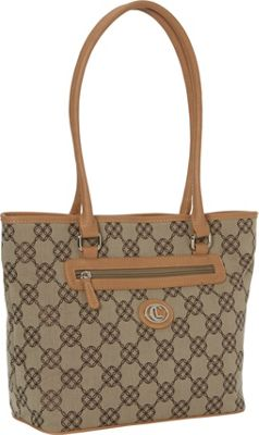 Aurielle-Carryland CL Circle Shoppers Tote Khaki/Brown/Vachetta - Aurielle-Carryland Fabric Handbags 10594494