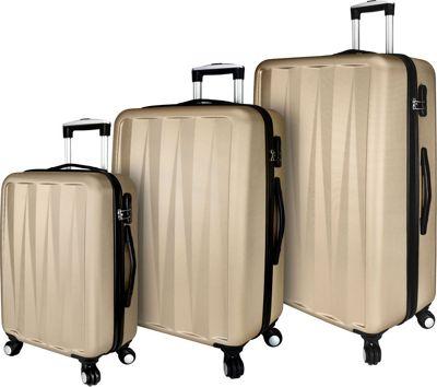 Elite Luggage Verdugo 3 Piece Hardside Spinner Luggage Set Champagne - Elite Luggage Luggage Sets