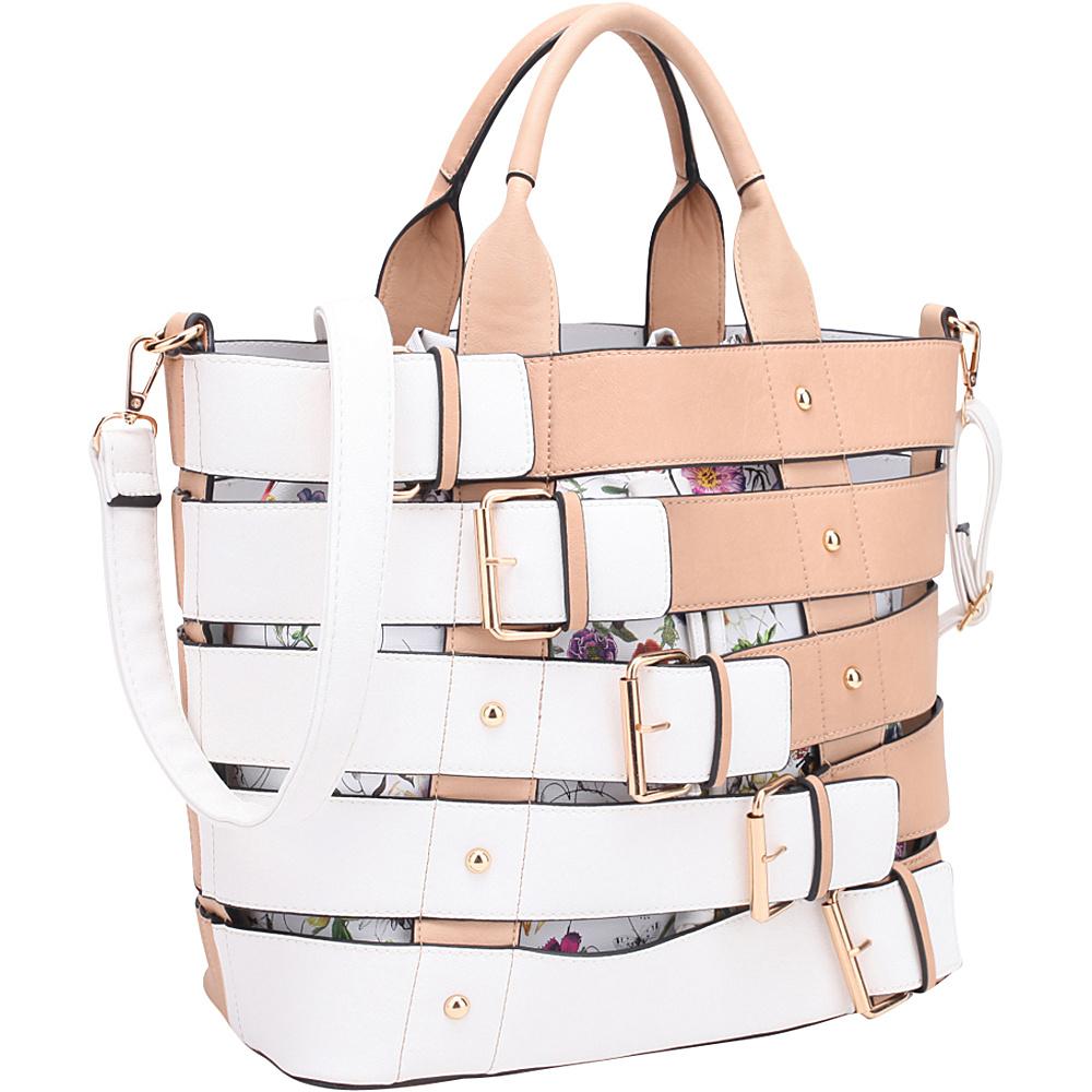 Dasein Buckle 2-In-1 Medium Tote Beige - Dasein Manmade Handbags - Handbags, Manmade Handbags