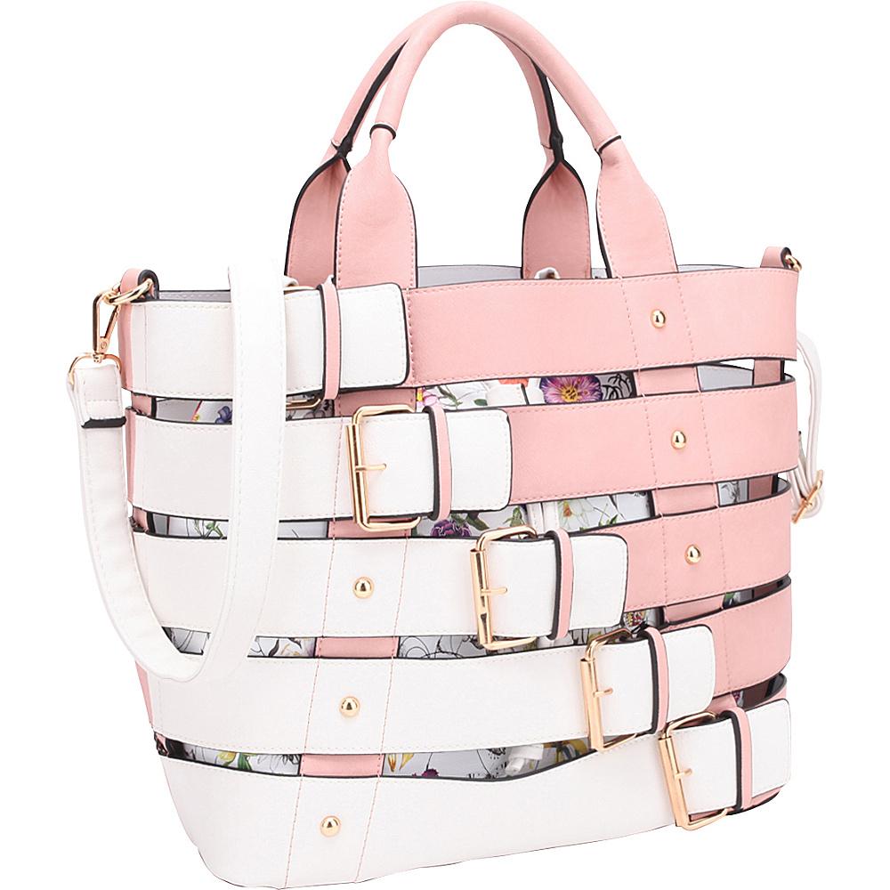 Dasein Buckle 2-In-1 Medium Tote Pink - Dasein Manmade Handbags - Handbags, Manmade Handbags
