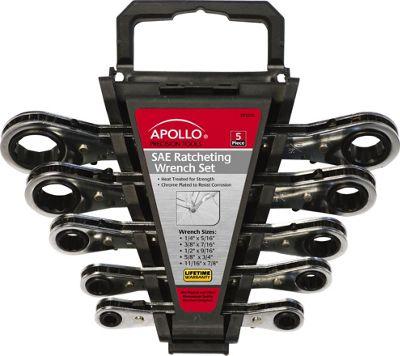 Apollo Tools 5 Piece SAE Ratcheting Wrench Set Metallic - Apollo Tools Sports Accessories