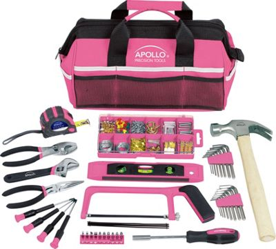 Apollo Tools 201 Piece Household Tool Kit in a Soft-Sided Tool Bag Pink - Apollo Tools Sports Accessories