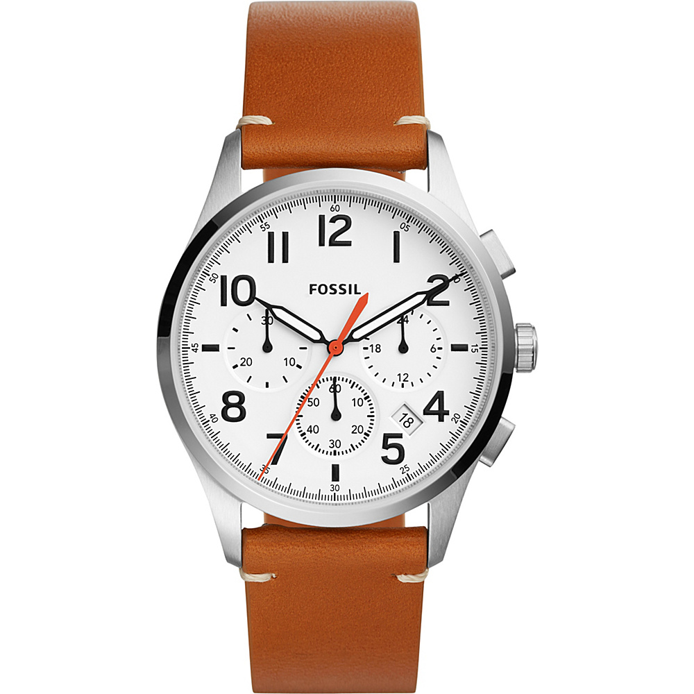 Fossil Vintage 54 Chronograph Tan Leather Watch Brown - Fossil Watches - Fashion Accessories, Watches