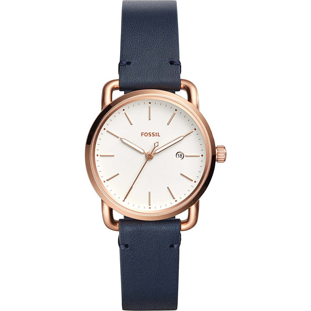Fossil The Commuter Three-Hand Date Leather Watch Navy(Navy) - Fossil Watches - Fashion Accessories, Watches