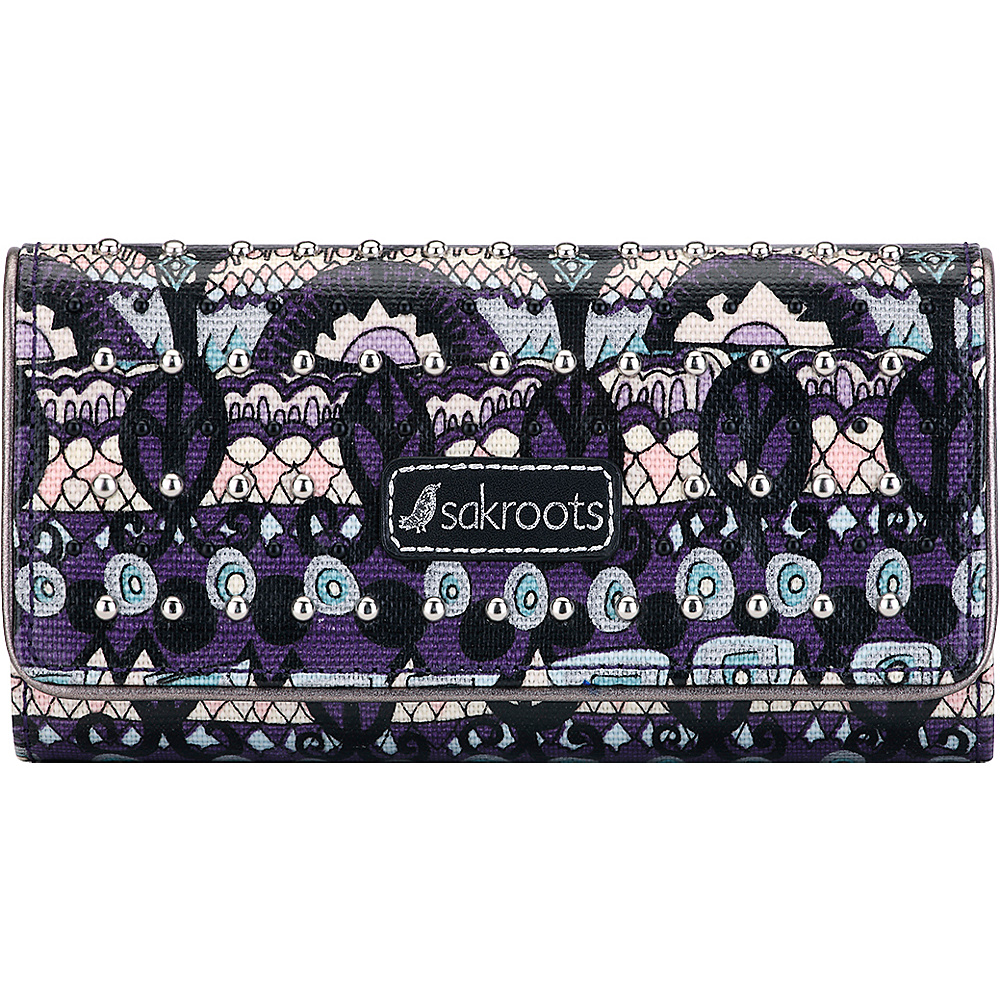 Sakroots Megan Snap RFID Trifold Wallet Violet One World - Sakroots Womens Wallets - Women's SLG, Women's Wallets